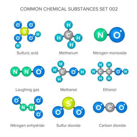 structures moléculaires des substances chimiques communes Vecteurs
