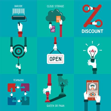 business concepts: Common simple business concepts set Illustration
