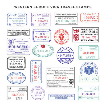 passport stamp: western europe colour travel stamps set