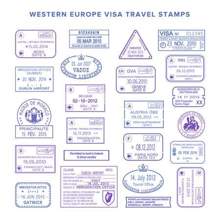 europe travel: western europe common travel stamps set Illustration
