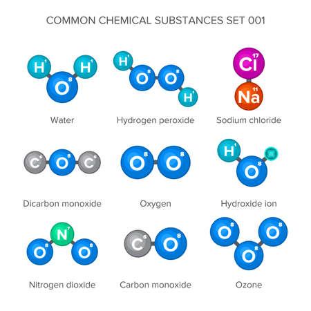 carbon monoxide: Molecular structures of common chemical substances Illustration