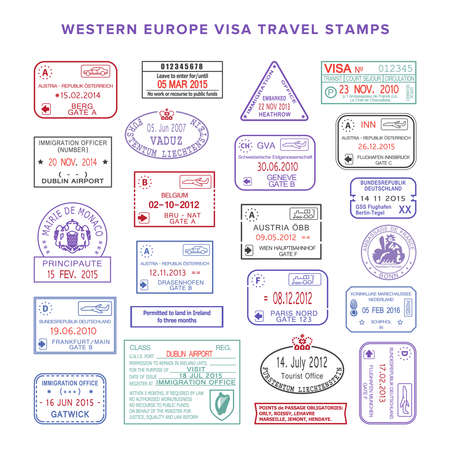 stamp passport: western europe colour travel stamps set
