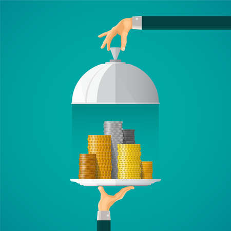 Money on cloche tray concept in flat style Illustration