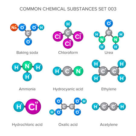 substances: Molecular structures of common chemical substances Illustration
