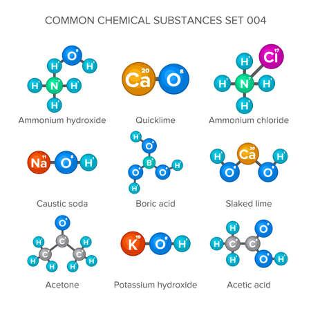 Molekulare Strukturen von gemeinsamen chemischen Substanzen