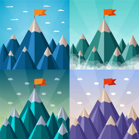 success and leadership concepts set with mountain landscape