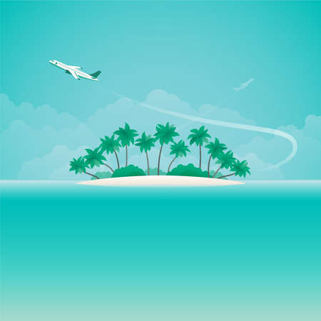 Airplane travel or tropical voyage  with copyspace in flat style