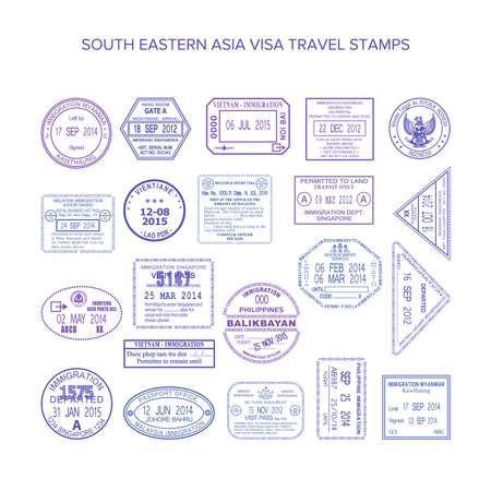 south eastern asia common travel stamps set