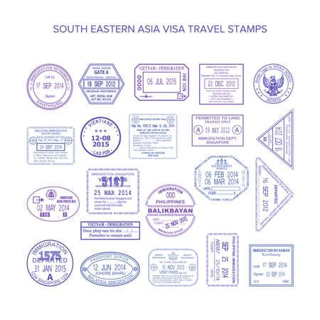 sello: del sudeste asiático sellos de viaje común establecen Vectores