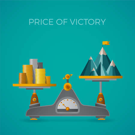 mount price: Price of victory vector concept in flat style with mountain peak