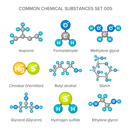 substances: Vector molecular structures of chemical substances isolated on white Illustration