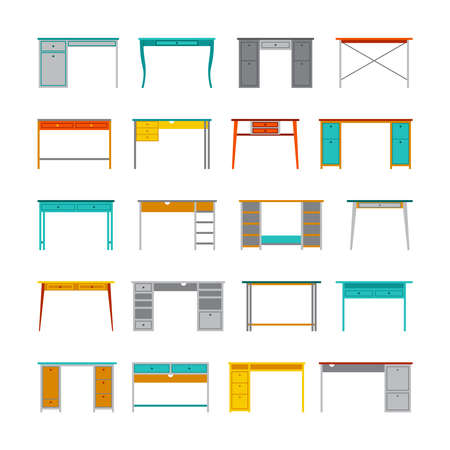 engeneering: Set of vector office tables and desks in flat style