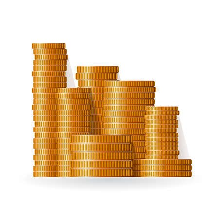 Realistic vector coin piles in flat style Illustration