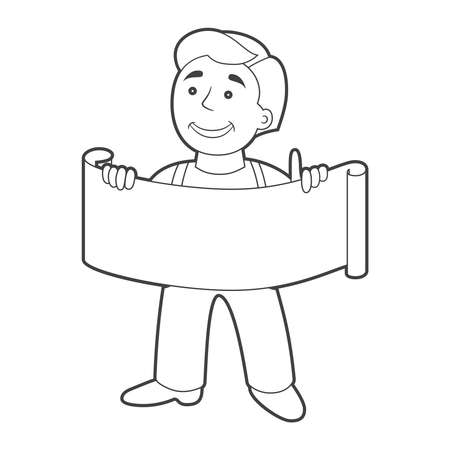 plackard: Worker man with banner in cartoon style. Outline.