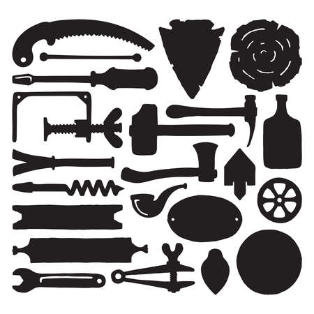 sketched: Sketched vector carpenter tools and symbols set