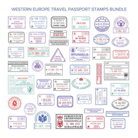 uk: Vector western europe colour travel visa stamps set