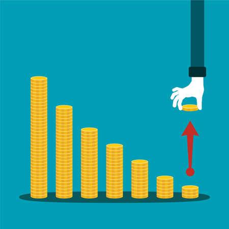 economic activity: Economic activity decline vector concept in flat style