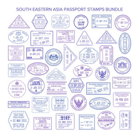 south asia: Vector south eastern asia travel visa stamps set