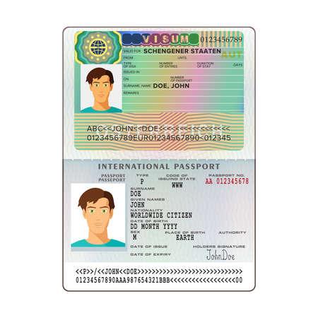 Vector international open passport with Austria visa 版權商用圖片 - 74110956