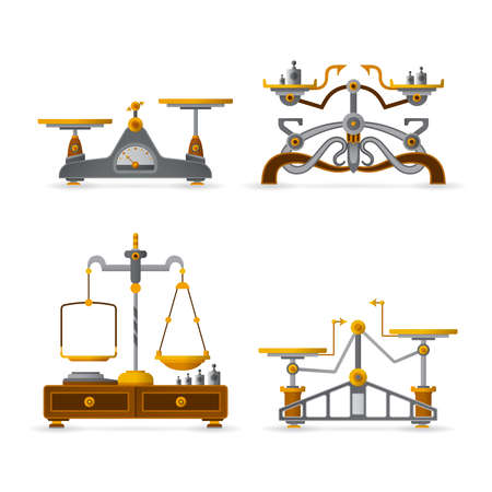 Retro balance scales set in flat style