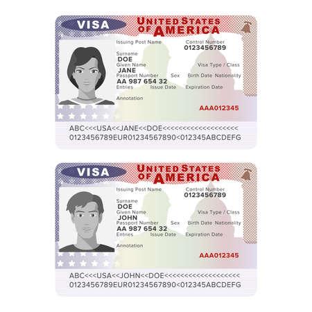 フラット スタイルのベクトル米国パスポート ビザ ステッカー テンプレート