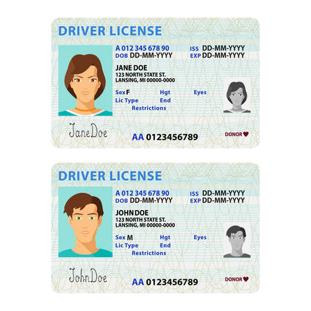driver license: Vector man and woman driver license plastic card template