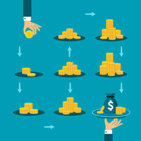 Long way to financial success vector concept in flat style