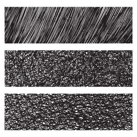 cross hatching: Vector grunge monochrome textures & patterns set Illustration