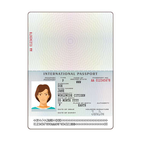 Vector international passport template with sample personal data vector vector international passport template with sample personal data page maxwellsz