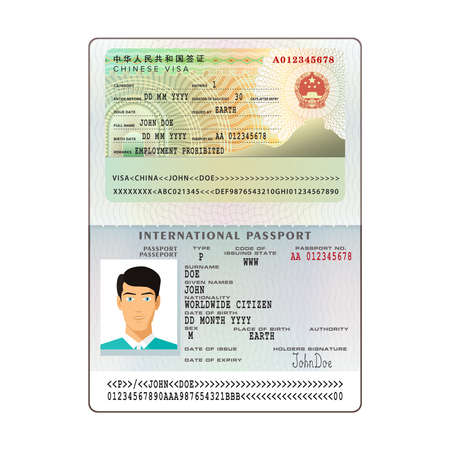 Vector international open passport with China visa