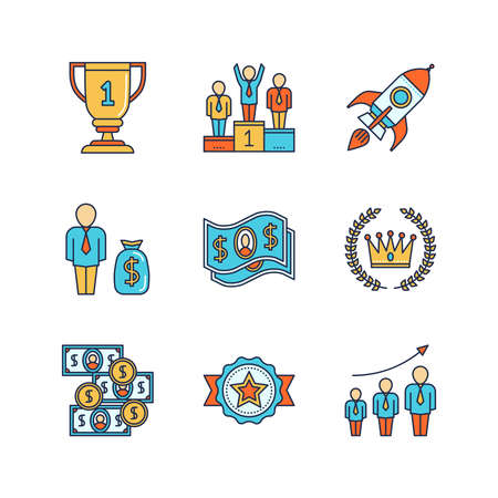 business space: Vector minimal lineart flat business iconset. Winners goblet, podium, pedestal, space rocket, dollar, money, crown, laurel wreath, reward, population growth.