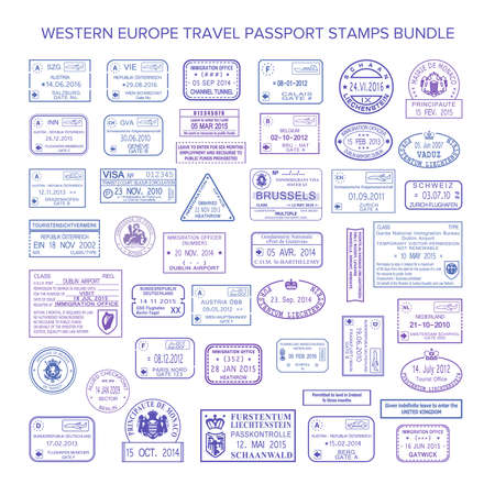 Vector occidentaux timbres de visa de voyage commun europe fixés Banque d'images - 75200232