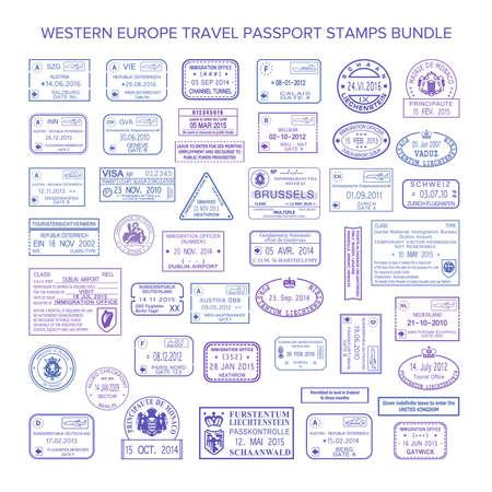 Vector west-europa gemeenschappelijke reis visumzegels ingesteld Vector Illustratie