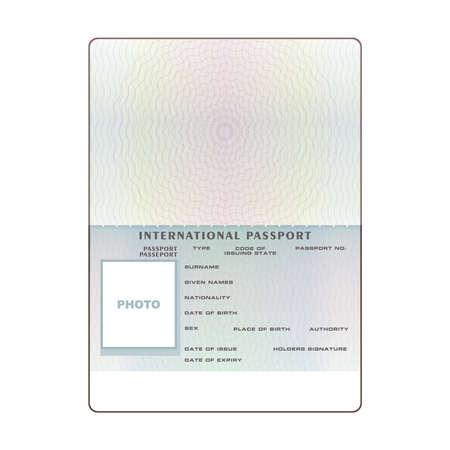 ベクトル国際オープン パスポート空白のテンプレート