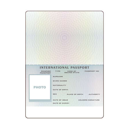 Vector international open passport blank template