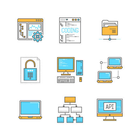 shared sharing: Vector minimal lineart computers and programming iconset. Laptop, network, folder, coding, lock, security, data diagram, monitor, object programming. Illustration