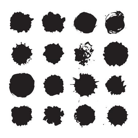 Vector monochrome ink dots, blots, smudges and drops set