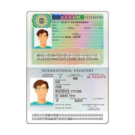 republic: A Vector international open passport with Czech Republic visa