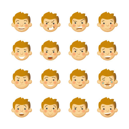 rosy: Men with rosy cheeks. Vector avatars and emoticons set.