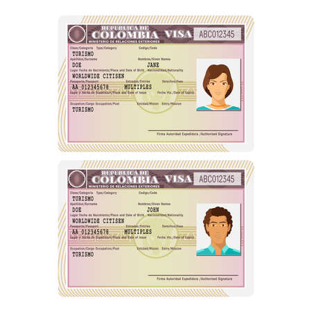 woman male: A Vector Colombia passport visa sticker template in flat style