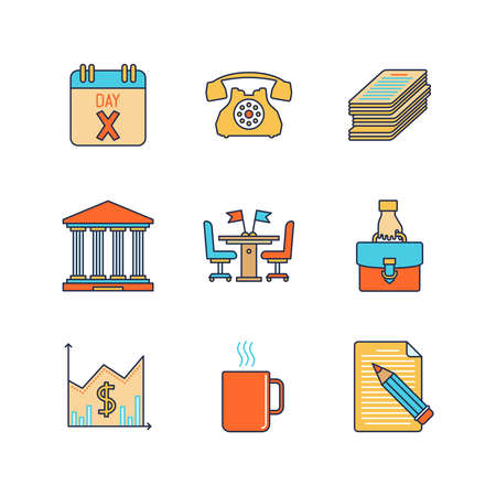 signing: A Vector minimal lineart flat business iconset: calendar, phone call, documents, deal, diagram, coffee break, contract. Illustration