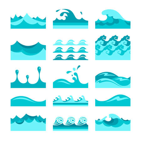 water wave: Vector seamless blue water wave tiles set for patterns and textures