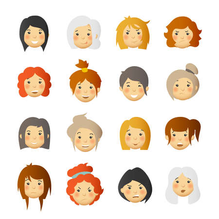 Women with rosy cheeks. Vector avatars and emoticons set. Ilustrace