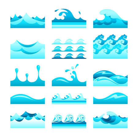 sea water: Vector seamless gradient blue water wave tiles set