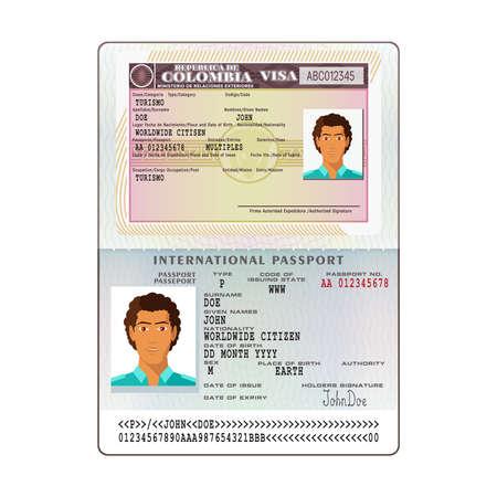 Vector international open passport with Colombia visa Stok Fotoğraf - 77102938