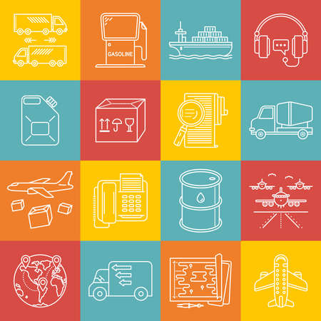 freight transportation: Freight and transportation lineart minimal vector iconset on multicolor checkered texture