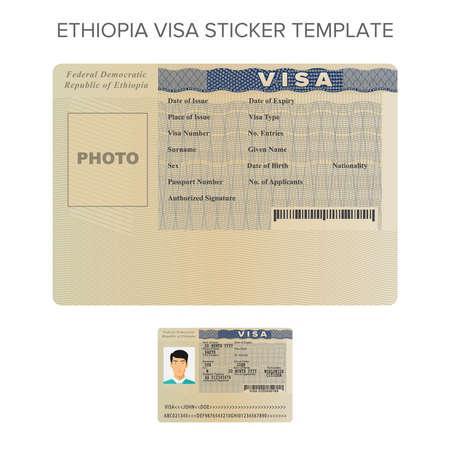 フラット スタイルのベクトル エチオピア パスポート ビザ ステッカー テンプレート