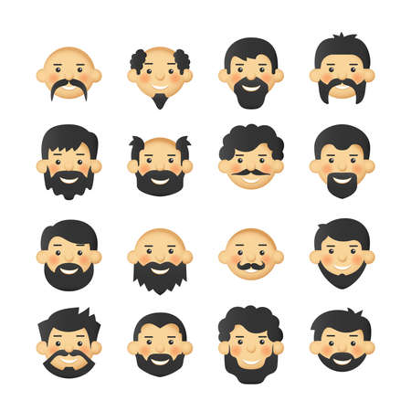 Men head avatar iconset with beards, mustaches and rosy cheeks Illustration