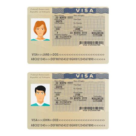 フラット スタイルのベクトル エチオピア国際パスポート ビザ ステッカー テンプレート