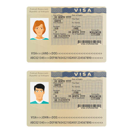 Vector Ethiopia international passport visa sticker template in flat style